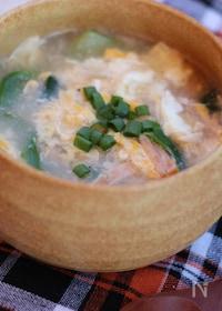 『チンゲン菜のかき卵スープ』