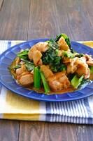 小松菜と鶏肉のカレー風味オイスターマスタードマヨ炒め
