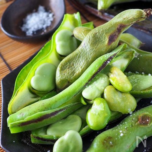【らくレピ】丸ごと焼き空豆*ワタまで美味しい簡単空豆のグリル