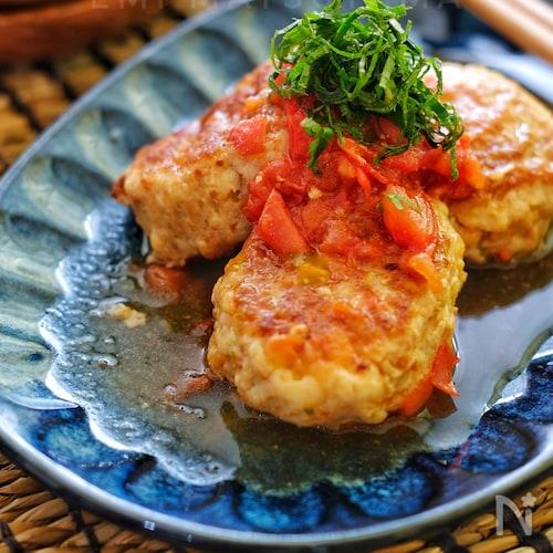 *はんぺんとえのきたっぷりの和風生トマト煮込み鶏バーグ*