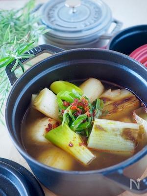 【風邪予防・免疫力アップ】とろとろ長ねぎのピリ辛スープ