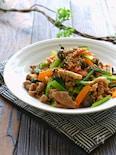 小松菜と豚こまのスタミナピリ辛オイマヨソテー
