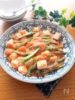 ご飯にかけても美味しい♡豆腐とアスパラの明太とろみ餡♡
