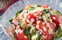 暑い日もさっぱり♪トマトときゅうりのネギ塩サラダ