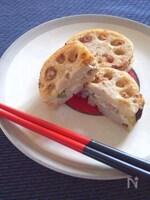 レンコンのチーズ入り豆腐はさみ焼き