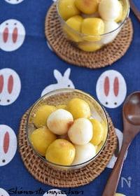 『お豆腐白玉で♪2色の月見だんご』