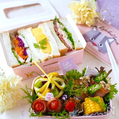 サンドイッチと野菜のベーコン巻き弁当【ちょびカワJK弁当】