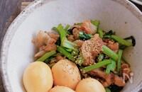 ゆで卵と豚バラと小松菜の簡単サッと煮