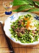 山盛り小ねぎの牛肉おろしポン酢