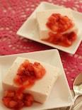豆腐でヘルシー!いちごのレアチーズケーキ