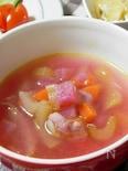 紅芯大根とセロリのスープ