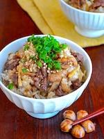 【生姜と牛ごぼう混ぜご飯】生姜香る♬︎味染みお揚げ♡