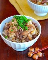 【生姜と牛ごぼう混ぜご飯】生姜香る♬︎ 味染みお揚げ♡