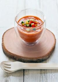 『トマト缶で簡単☆本格ガスパチョ(冷たいトマトスープ)』