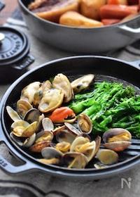 『3分美味♡菜の花と貝の白だしバター蒸し』