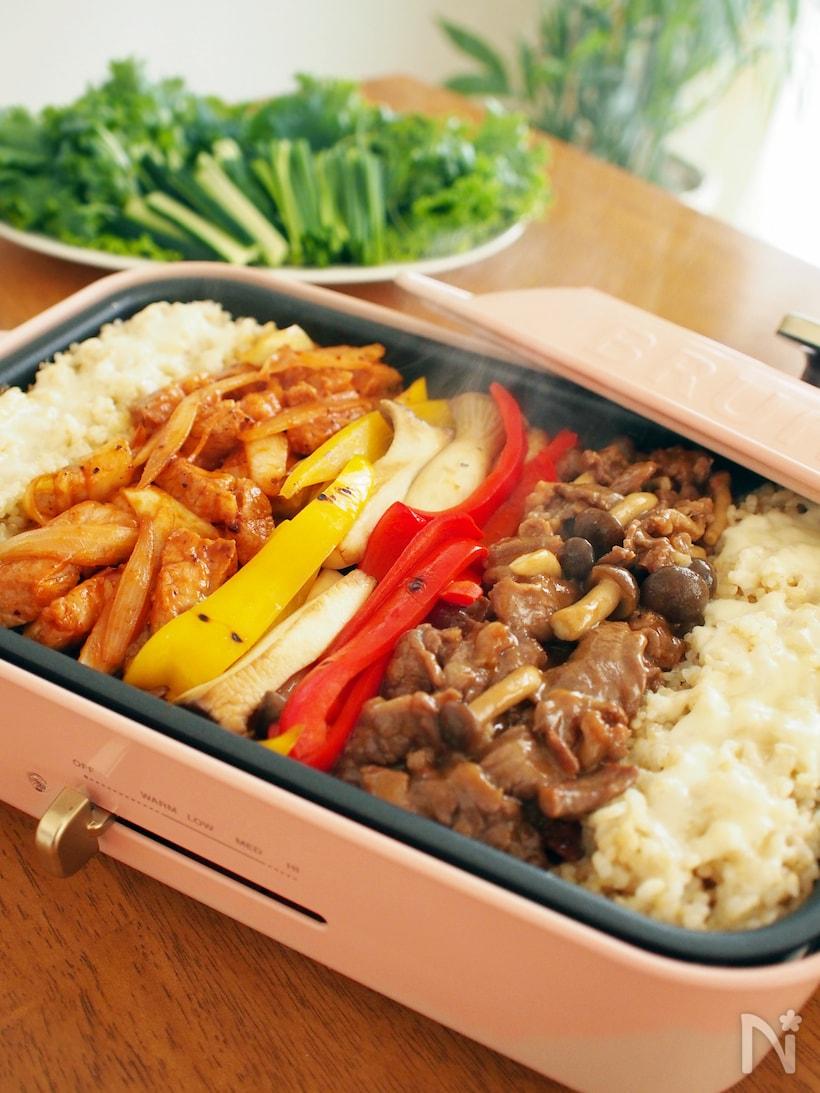 牛肉、豚肉を使った野菜で巻くBBQ風手巻き寿司