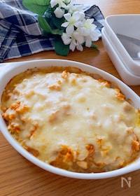 『ソースも美味しい♡鶏ひき肉とゆで卵のチーズ焼き』