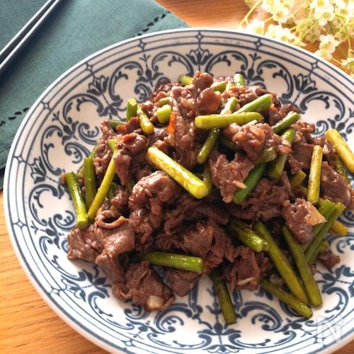 調味料全て小さじ2♡牛肉とにんにくの芽の中華炒め