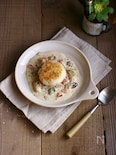 牡蠣のクリームソース~焼きおにぎり添え~