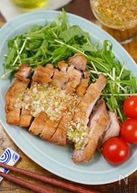 『皮パリパリ♡野菜と食べるタレだく油淋鶏』
