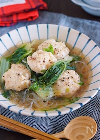 『重ねて10分♪旨味たっぷり♪『鶏団子と白菜の重ねスープ煮』』