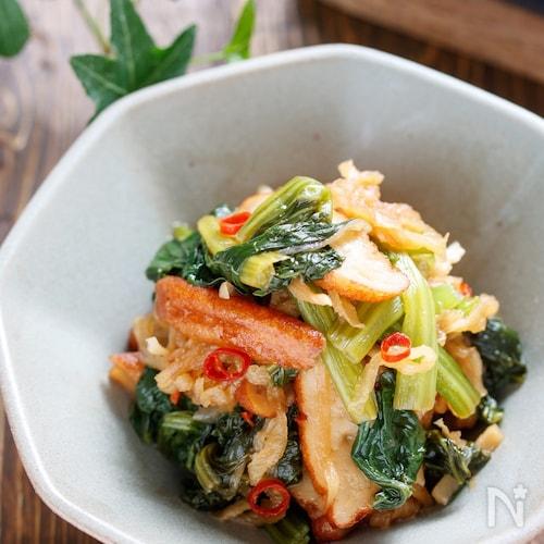 さつま揚と小松菜のピリ辛うま煮【#作り置き #レンジ】