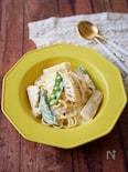 『白だしで簡単』筍とスナップえんどうの和風クリームパスタ