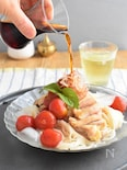 茹で鶏とミニトマトマリネのぶっかけそうめん#お鍋ひとつで!