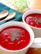 2分火にかけて冷やすだけ♡トマト缶で簡単冷製トマトスープ