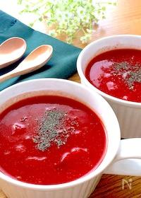 『2分火にかけて冷やすだけ♡トマト缶で簡単冷製トマトスープ』