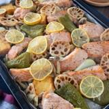 簡単パーティ料理*鮭とゴロゴロ野菜のぎゅうぎゅう焼き
