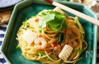 『春の味覚♡』せりと魚介のペペロンチーノ