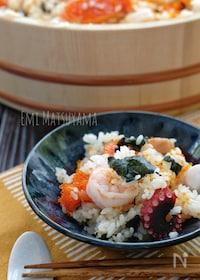 『簡単!*漬けサーモンと海老とたこの混ぜ寿司*』