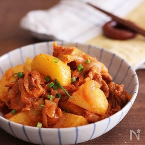電子レンジで簡単我が家の韓国風肉じゃが♡