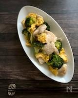 中華風ブロッコリーと鶏胸肉のふわふわ卵炒め
