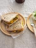 シャキホク♪蓮根入りかぼちゃサラダのサンドイッチ