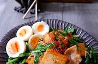 【韓国風】豚薄切り肉と厚揚げの旨辛炒め♪