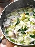味付け1つ♡簡単なのにめちゃ旨♡豚肉のもつ鍋風スープ♡