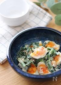 『いくらでも食べられる♡ほうれん草と半熟卵のごま味噌マヨサラダ』