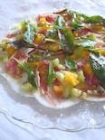 カブと生ハムとオレンジとキーウィのカルパッチョ