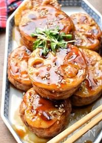 『【リメイクレシピ】煮物de簡単♡れんこんの甘辛はさみ焼き♡』