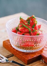 『汁まで飲みほす美味しさ♡トマトと大葉のだしマリネ』