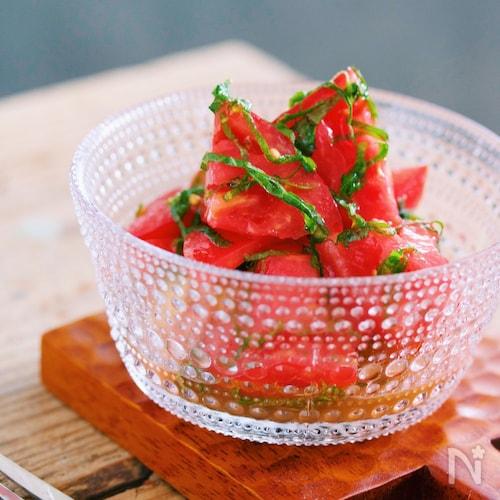 汁まで飲みほす美味しさ♡トマトと大葉のだしマリネ
