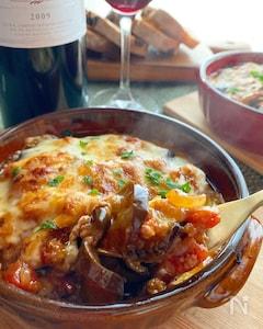 茄子のトマトミートチーズグラタン