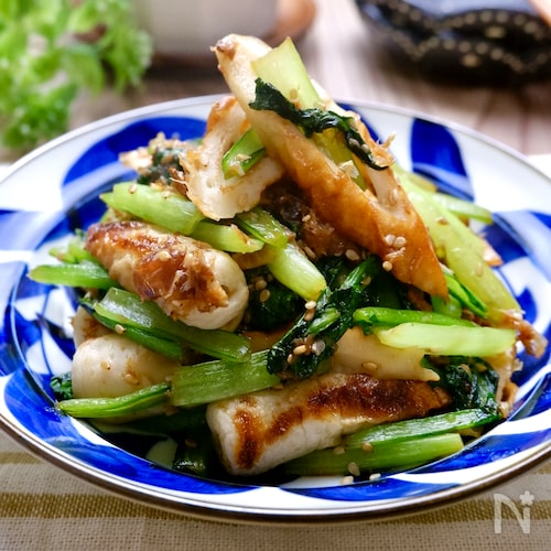 『ちくわと小松菜のおかか炒め』お弁当や副菜にぴったり♡