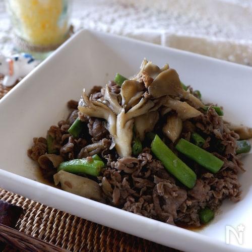 常備菜に!コク旨牛肉と舞茸のオイスターソース炒め