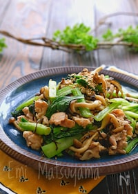 『【らくレピ】豚肉と小松菜の塩昆布マヨ炒め』