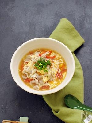 トマトと卵の酸辣湯風ソイドル麺