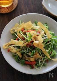 『カリカリ揚げワンタンとザーサイと豆苗の中華風サラダ』