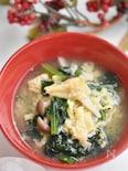 ほうれん草ときのこの和風卵スープ